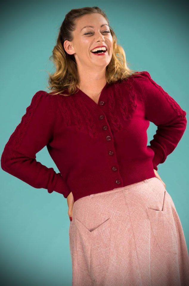 Brand new for Spring/Summer! The stunning Berry Peggy Sue Cardigan by Emmy Design is a beautiful wardrobe essential. The striking berry colour is warm and flattering to all skin tones. Deadly is the Female are UK Stockists of Emmy Design.