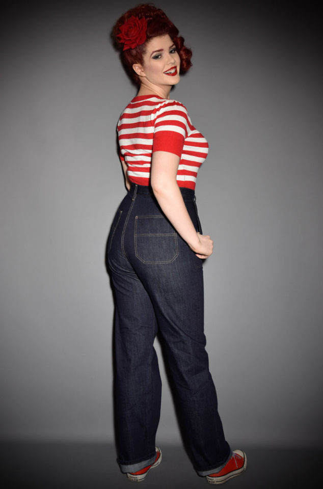 The Classic 1950s Jeans from Freddies of Pinewood are authentic reproduction denim at it's best. Effortlessly add some vintage style to your everyday look with these fantastic high waisted jeans. We are particularly fond of teaming them with cardigans and a hair scarf for instant retro charm.