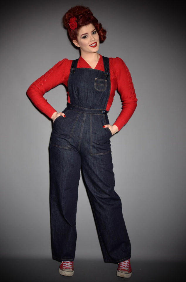 The 1940s Dungaree Dolls from Freddies of Pinewood are authentic reproduction denim at it's best. Effortlessly add some vintage style to your everyday look with these fantastic wide leg dungarees. We are particularly fond of teaming them with cardigans and a hair scarf for instant retro charm.