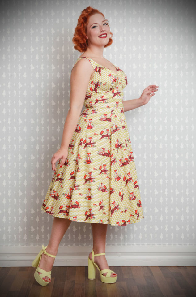 The Giorgia Foxy Dress is a sweet 50's style dress in yellow with a kitsch fox print. Perfect for an effortless daytime look that is sure to turn heads.is a darling fit and flare dress that will add a dash of fun to your retro wardrobe. Deadly is the Female are UK stockists of Miss Candyfloss.