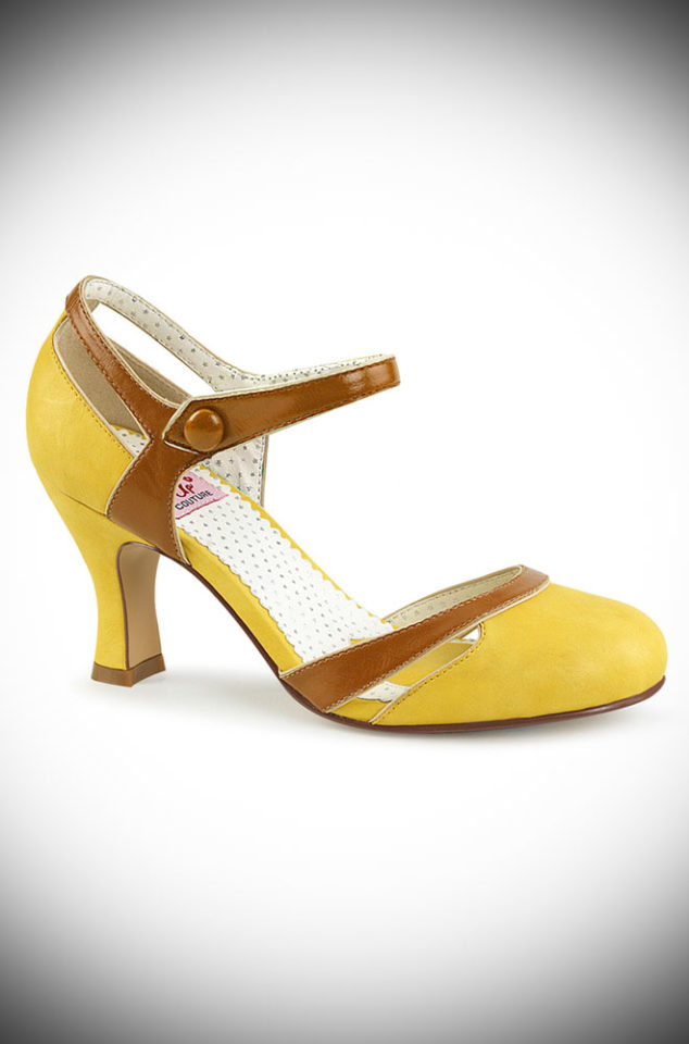 These Yellow Flapper Shoes by Pinup Couture are classic and chic. We adore the vintage details, kitten heels and cutout details. Add a splash of colour and sass in an instant, these shoes are great all year round.