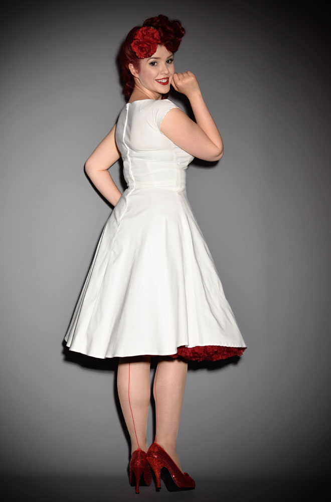 50's Ivory Mad Style Swing Dress at Stop Staring! official UK stockists Deadly is the Female. A pin up dress thats prefect for weddings! A 50s style bridal dress or vintage style bridesmaid dress. High quality vintage reproduction.