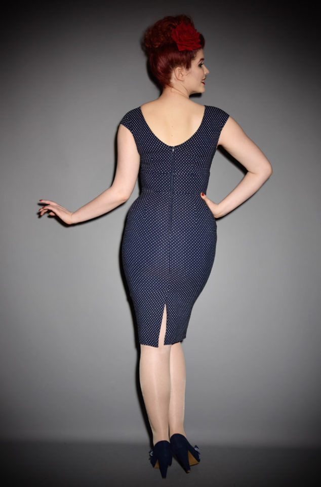 The Stop Staring! Reyna Dress in Navy & White Dots is understated glamour at it's best. This timeless dress will take you from day to evening with effortless style.  Made with high quality stretch fabric, the dress is inspired by the classic lines of the 1950's! DeadlyistheFemale.com are UK stockists of Stop Staring!