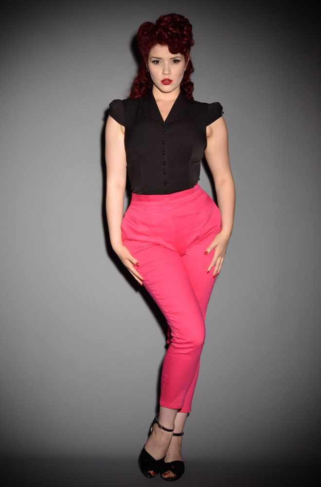 The Vixen Hot Pink Cigarette Pants have arrived at Deadly is the Female, official UK stockists of Vixen by Micheline Pitt. Good things for bad girls.