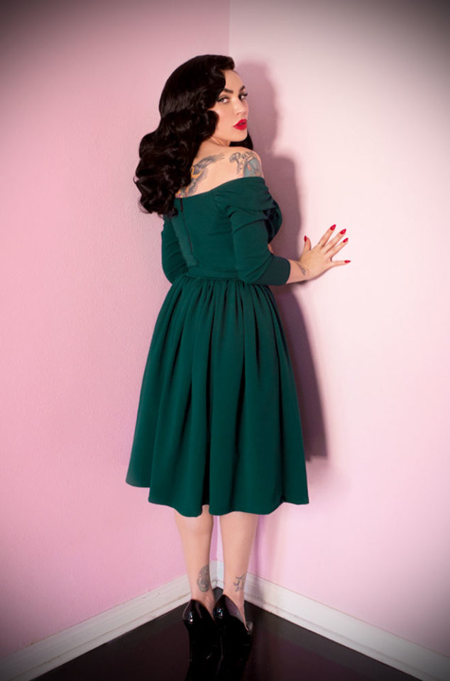 "The Green Starlet Swing Dress is the ultimate ""Old Hollywood"" cocktail dress but can easily be dressed down too, for effortless vintage style. Deadly is the Female are official UK stockists of Vixen by Micheline Pitt."