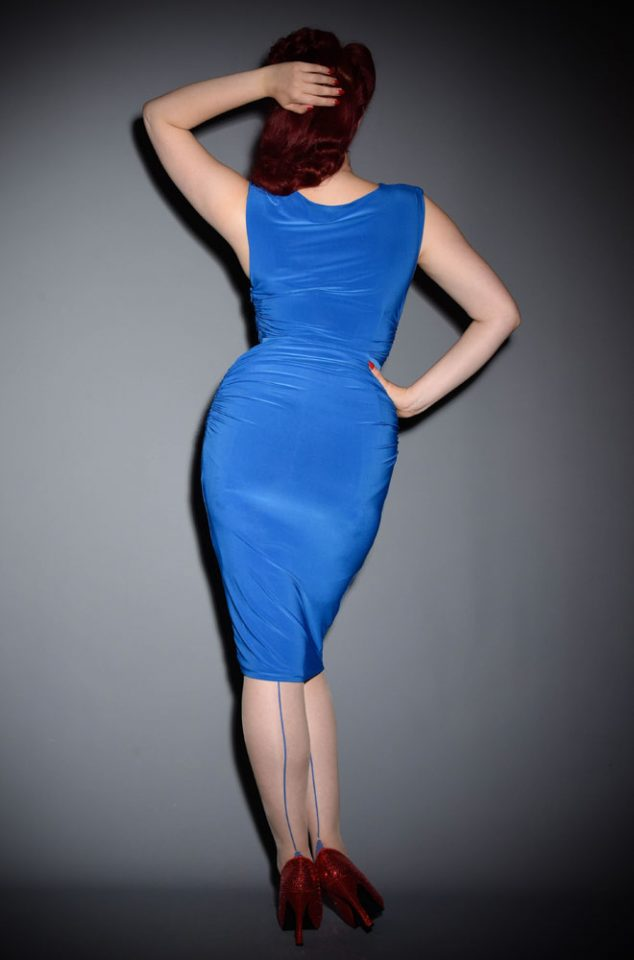 This Azure Blue dress is beautifully ruched to flatter & enhance your curves. The Billie Wiggle Dress will add instant glamour to any occasion. Crafted from a soft, stretch fabric for a luxurious & comfortable fit, this piece boasts a ruched, midi length pencil skirt, a beautifully draped cowl neckline & cap sleeves.