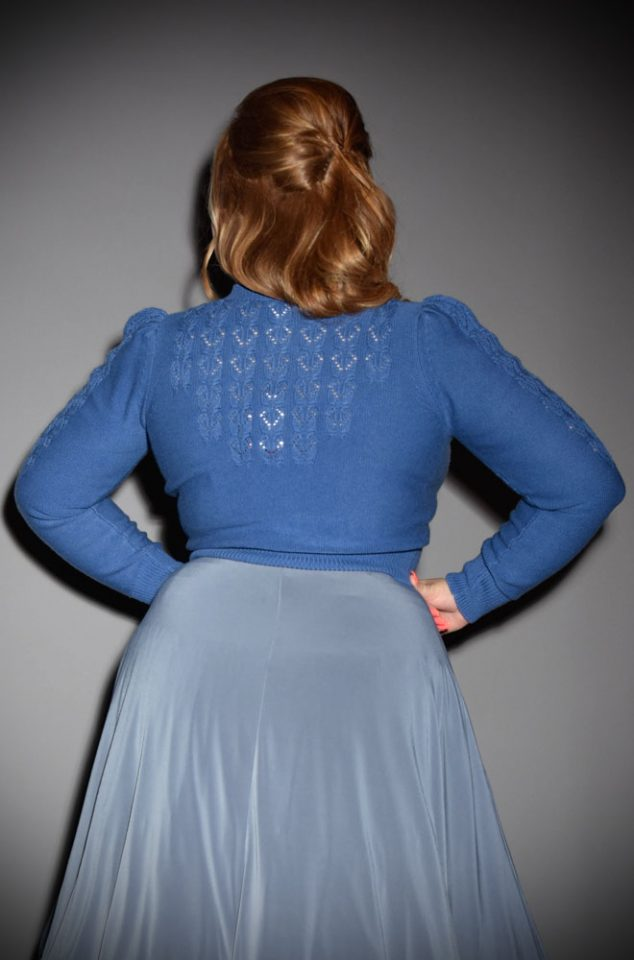 Brand new for Spring/Summer! The stunning Cornflower Blue Peggy Sue Cardigan by Emmy Design is a beautiful wardrobe essential. The striking cornflower blue colour is soft and flattering to all skin tones. Deadly is the Female are UK Stockists of Emmy Design.