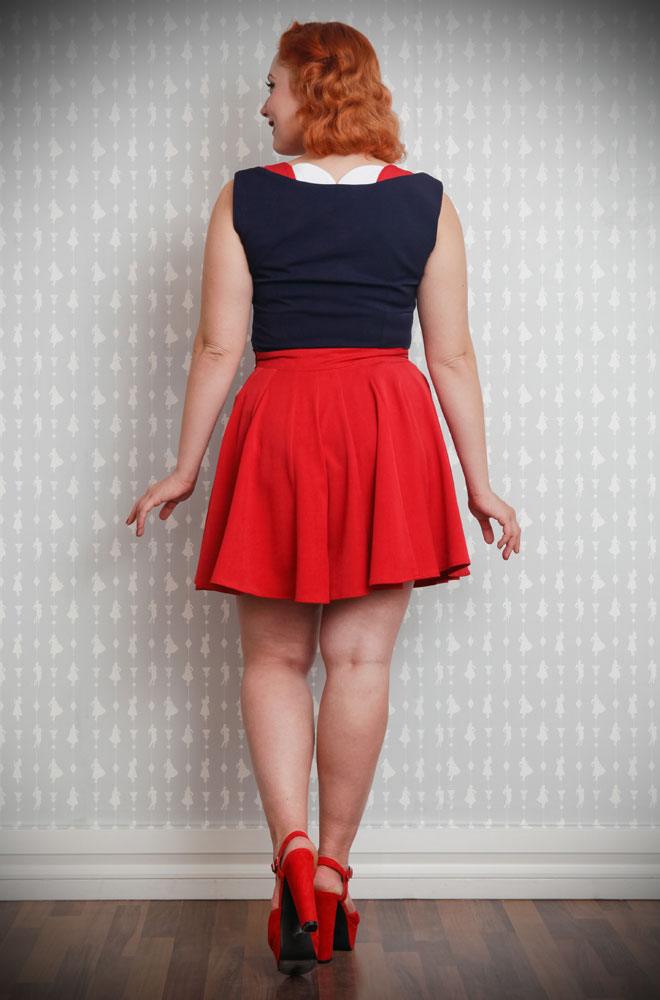 The Red Paola Culotte Shorts are gorgeous and comfortable 1940's styled mid-thigh length pleated shorts in stretch fabric. They are the perfect way to add some effortless retro style to your everyday look! Available at Miss Candyfloss at UK stockists, Deadly is the Female.
