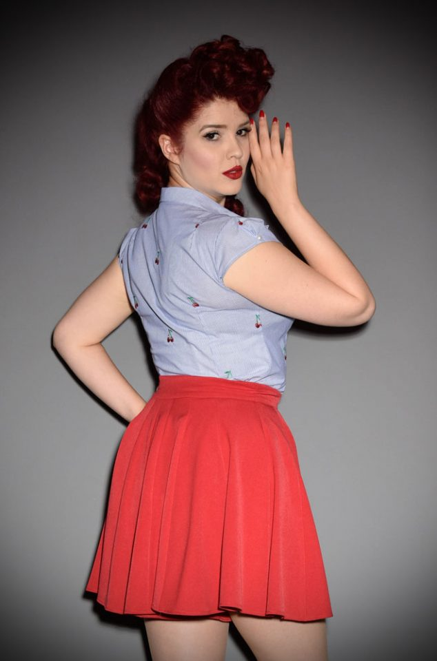 The Vita Lee Cherry Blouse is a sweet and effortless blouse with a Peter Pan Collar and cherries embroidered on it.www.DeadlyistheFemale.com are proud UK stockists of Miss Candyfloss.