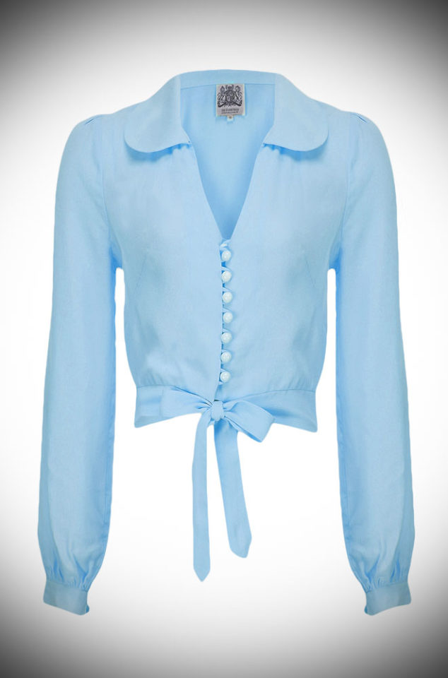 The Powder Blue Clarice Blouse is a classic 40's inspired blouse. Wear the Clarice Blouse with high waisted trousers for a chic daytime look or a pencil skirt, seamed stockings and heels for a glamorous 40s style.