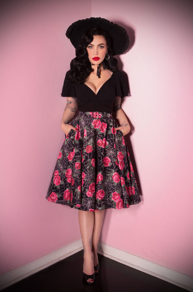 The Vixen Spider Web Circle Skirt has arrived at Deadly is the Female, official UK stockists of Vixen by Micheline Pitt. A fabulous vintage style skirt in a striking floral print. The stunning fabric is inspired by a British rose and web vintage textile print, exclusively reimagined for Vixen.