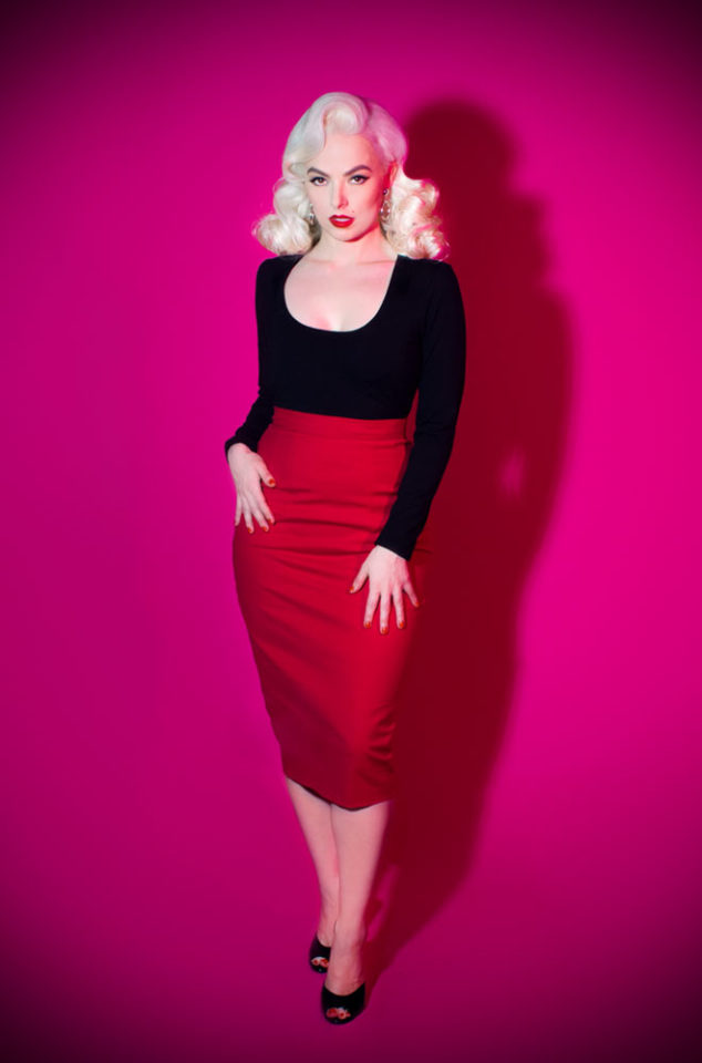 The Red Vixen Pencil Skirt has arrived at Deadly is the Female, official UK stockists of Vixen by Micheline Pitt. Flaunt killer curves with this bad girl essential! This Skirt has been designed with your shape in mind. Created to nip in your waist & to accentuate your hourglass figure to the max.