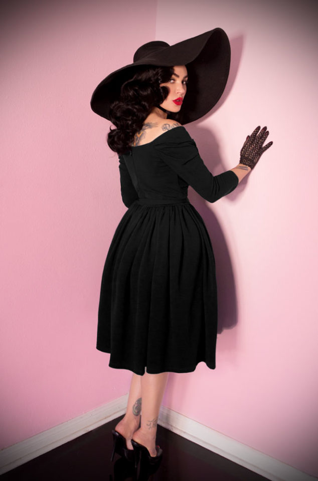 "The Black Starlet Swing Dress is the ultimate ""Old Hollywood"" cocktail dress but can easily be dressed down too, for effortless vintage style. Deadly is the Female are official UK stockists of Vixen by Micheline Pitt."