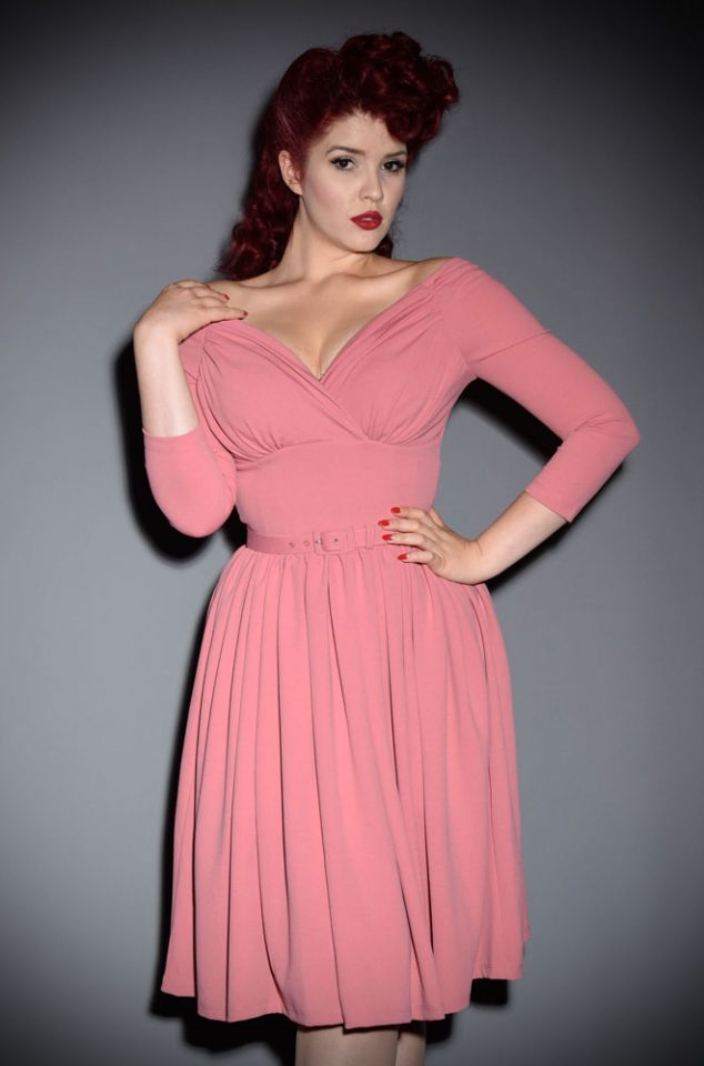 "The Rose Pink Starlet Swing Dress is the ultimate ""Old Hollywood"" cocktail dress but can easily be dressed down too, for effortless vintage style. Deadly is the Female are official UK stockists of Vixen by Micheline Pitt."
