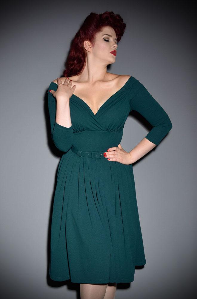 The Vixen By Micheline Pitt Green Starlet Swing Dress Is A