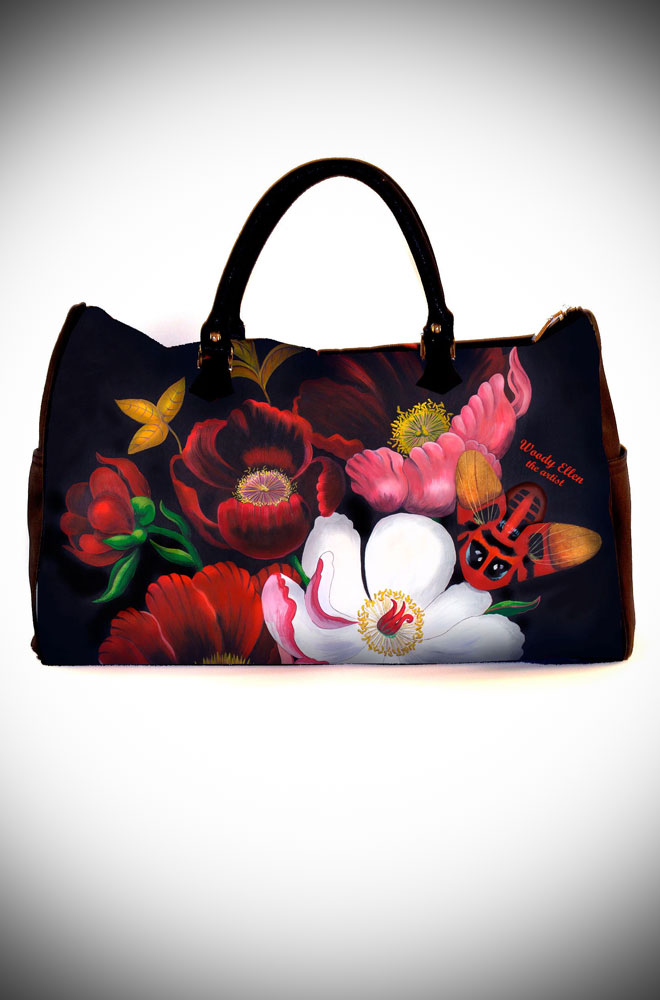 The Glorious Travel Bag features artwork by Woody Ellen. Ideal as a weekend bag, your getaway has never been so stylish. Available now at UK stockists Deadly is the Female.