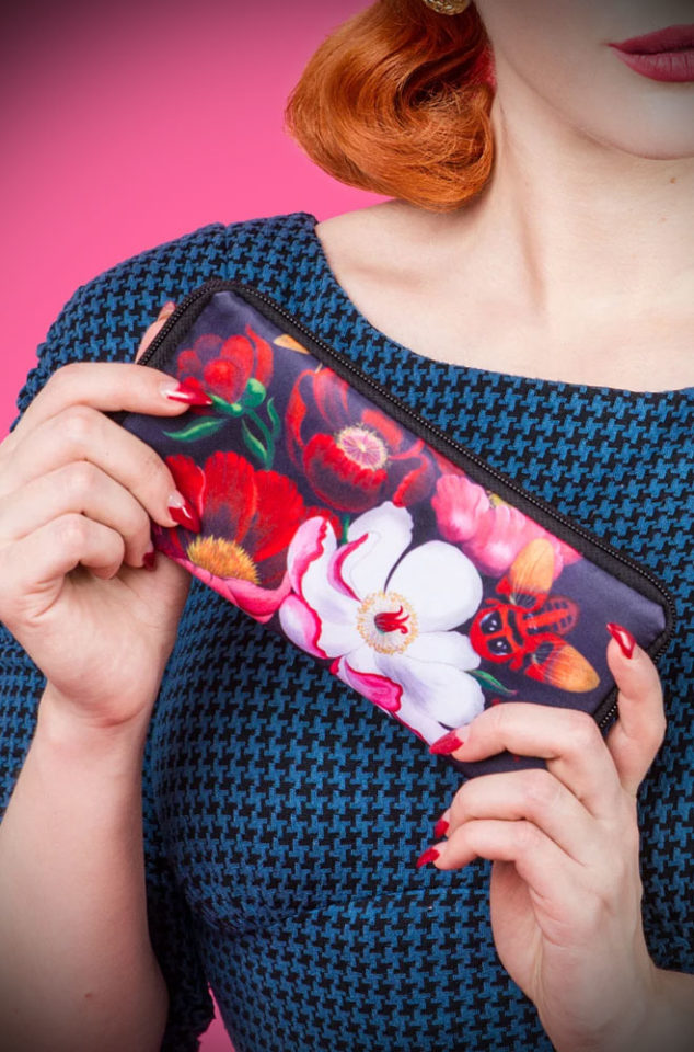 The Glorious Retro Wallet by Woody Ellen features luxurious, mystical botanical flowers. We adore the dramatic dark red blooms and moth against a black background. DeadlyistheFemale.com are UK stockists of Woody Ellen.