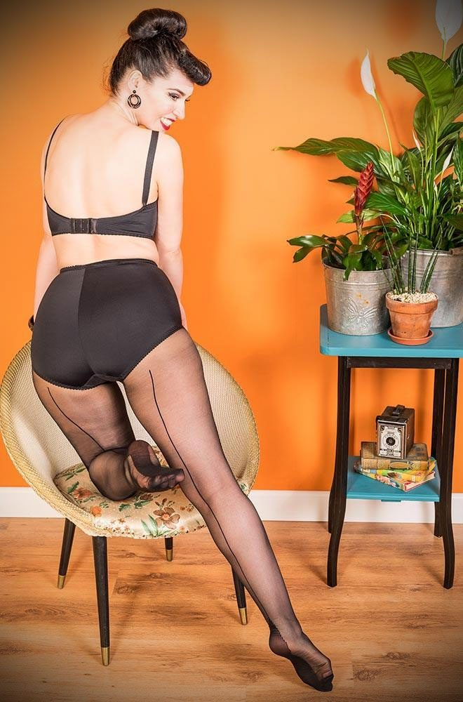 Sometimes only the smoothest line will do... What Katie Did Black/Black Seamed Tights come to the rescue! Seamed hosiery is perfect to add glamour to any outfit. Available now at DeadlyistheFemale.com