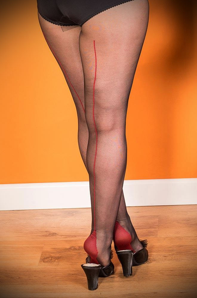 Sometimes only the smoothest line will do... What Katie Did Red/Black Seamed Tights come to the rescue! Seamed hosiery is perfect to add glamour to any outfit. Available now at DeadlyistheFemale.com