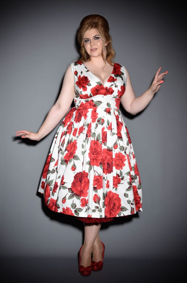 The Vivian 50s style red rose dress by Retrospec'd at UK stockists, Deadly is the Female is an stunning yet effortless dress that is flattering on everyone. The beautiful white and red rose print is oh so romantic.