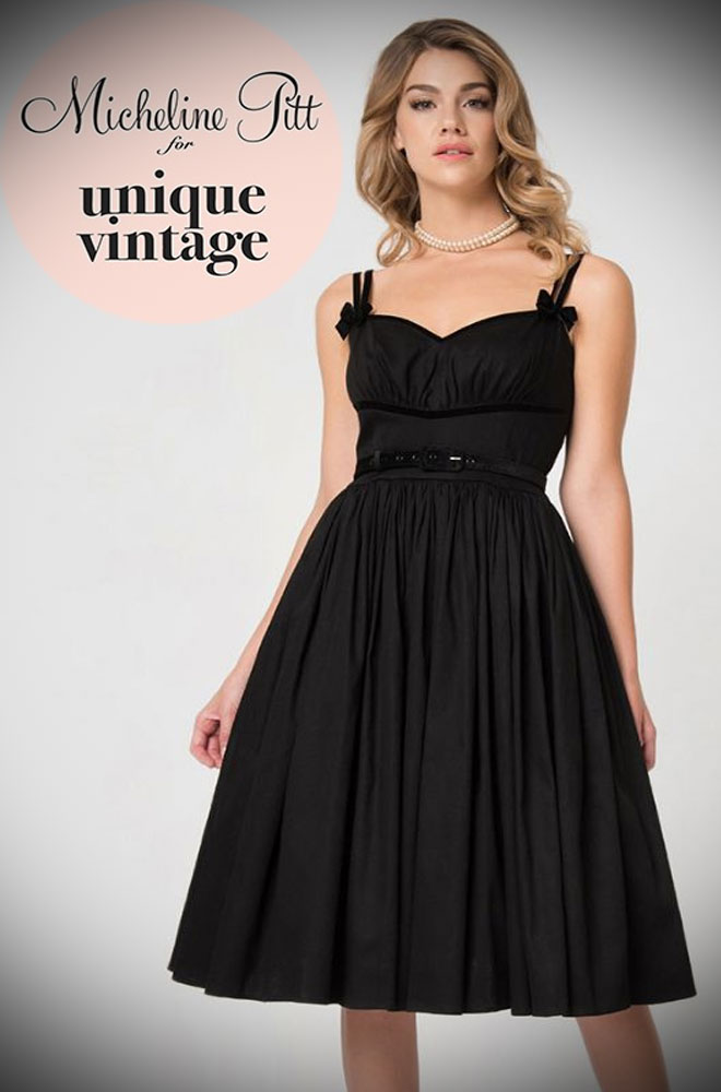 The Limited Edition Alice Black Swing Dress is a chic sweetheart swing dress designed by Micheline Pitt for Unique Vintage. Deadly is the Female are official stockists of this highly sought after collaboration.