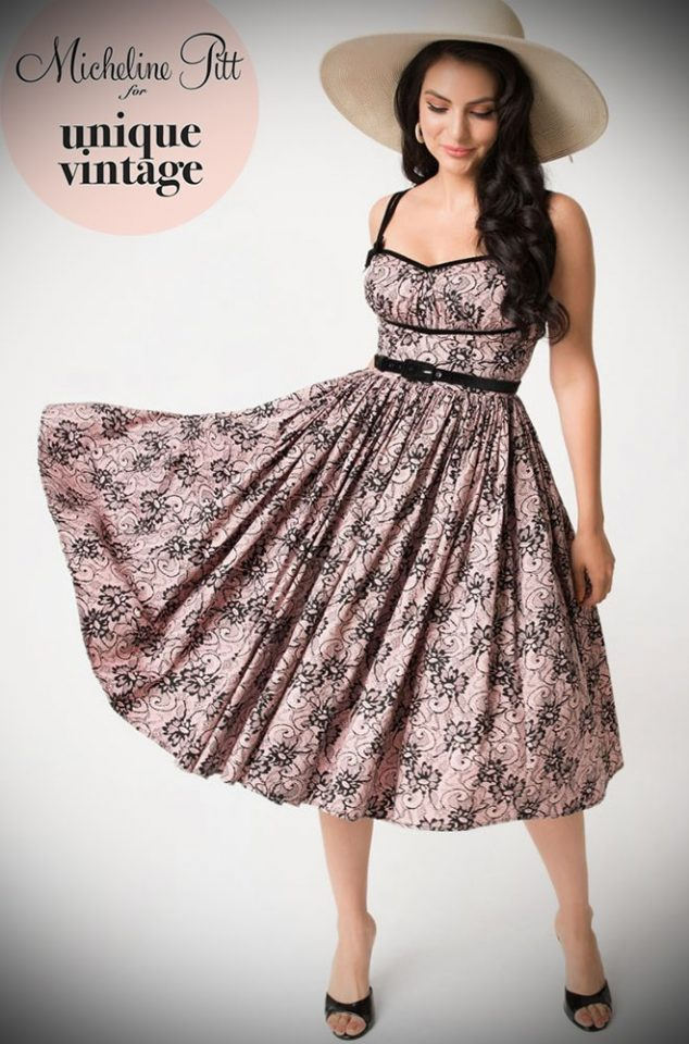 The Limited Edition Peach and Black Lace Print Alice Dress is a chic sweetheart swing dress designed by Micheline Pitt for Unique Vintage. Deadly is the Female are official stockists of this highly sought after collaboration.