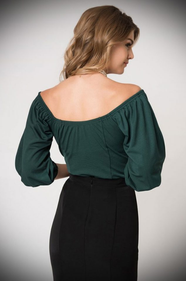 Introducing the Green Hissy Fit Top - a gorgeous vintage style top designed exclusively by Micheline Pitt for Unique Vintage. Deadly is the Female are official stockists of this highly sought after collaboration.