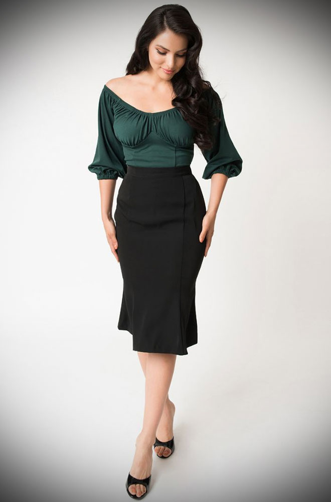 The Black Sassafras Pencil Skirt is an elegant wiggle skirt from Unique Vintage and designed by Micheline Pitt. Deadly is the Female are official stockists of this highly sought after collaboration.