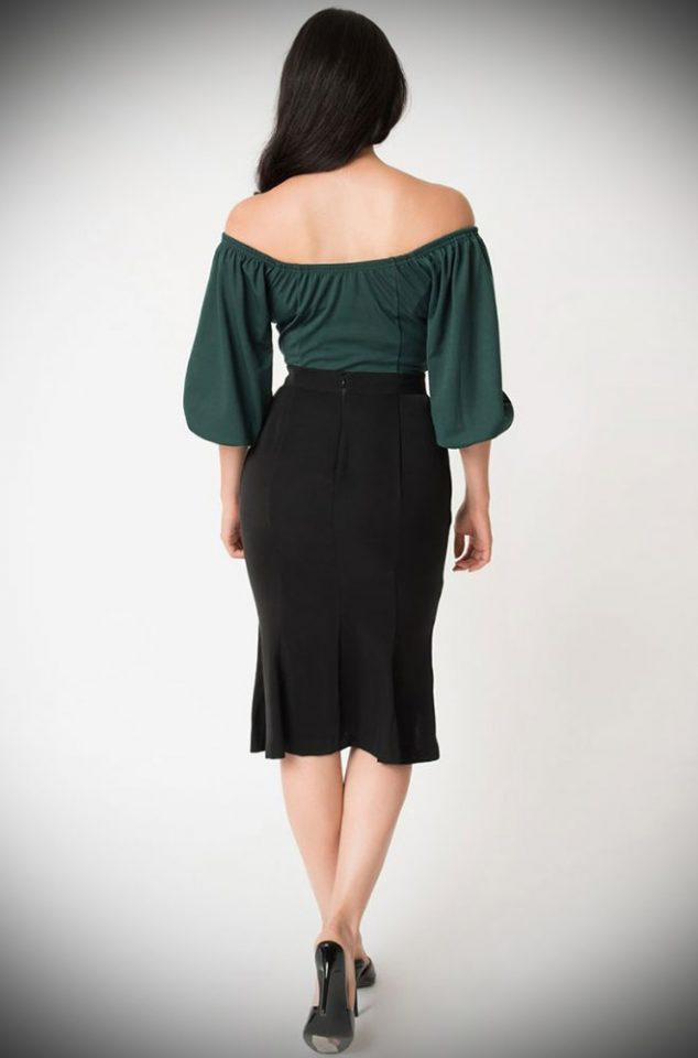 TheBlack Sassafras Pencil Skirt is an elegant wiggle skirt from Unique Vintage and designed by Micheline Pitt. Deadly is the Female are official stockists of this highly sought after collaboration.