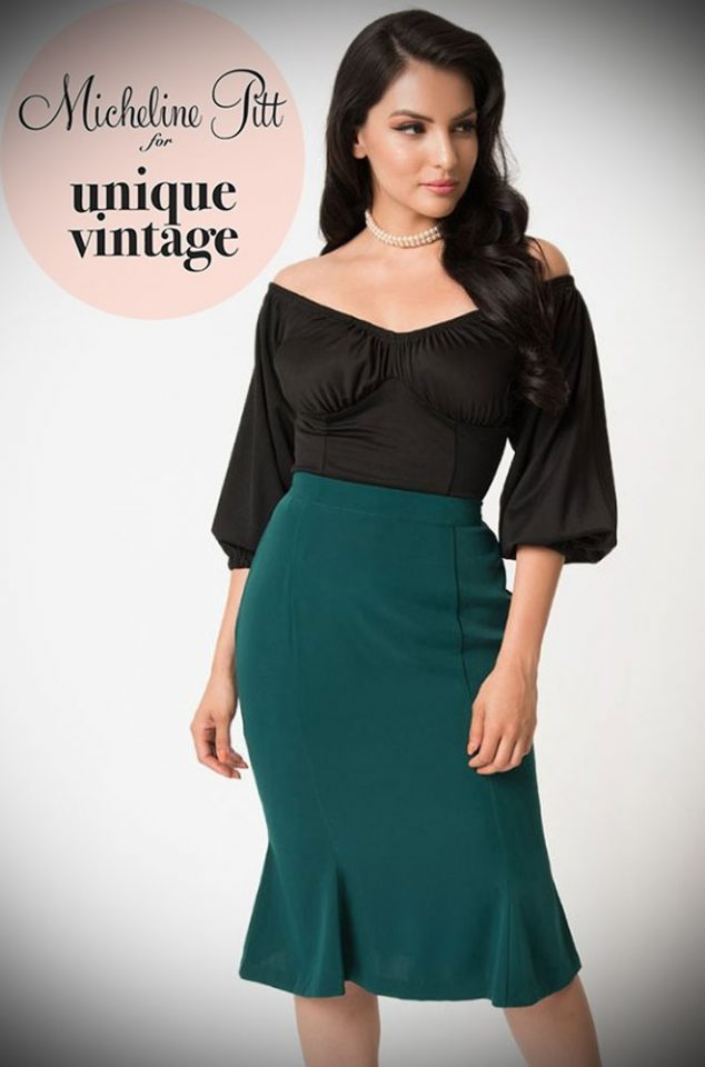Theemerald Green Sassafras Pencil Skirt is an elegant wiggle skirt from Unique Vintage and designed by Micheline Pitt. Deadly is the Female are official stockists of this highly sought after collaboration.