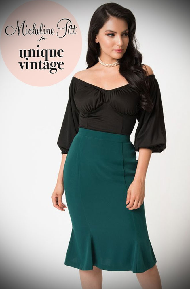 The emerald Green Sassafras Pencil Skirt is an elegant wiggle skirt from Unique Vintage and designed by Micheline Pitt. Deadly is the Female are official stockists of this highly sought after collaboration.