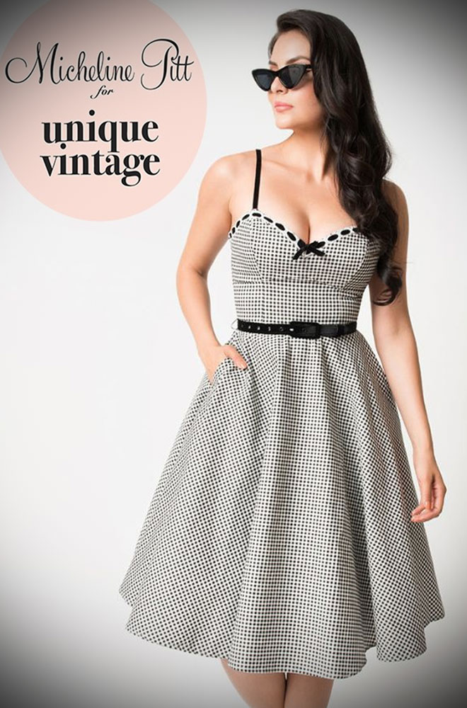The Limited Edition black and white gingham Belle Swing Dress Dress is a chic sweetheart swing designed by Micheline Pitt for Unique Vintage. Deadly is the Female are official stockists of this highly sought after collaboration.