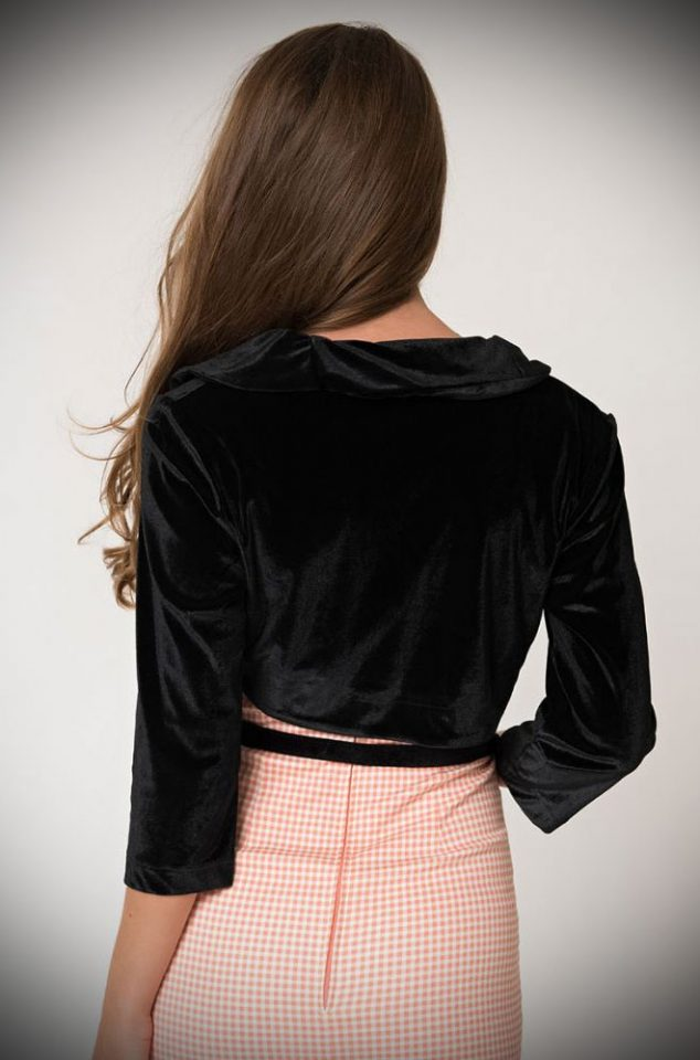 The black Velvet Darlin Bolero. From Unique Vintage and designed by Micheline Pitt. Deadly is the Female are official stockists of this highly sought after collaboration.