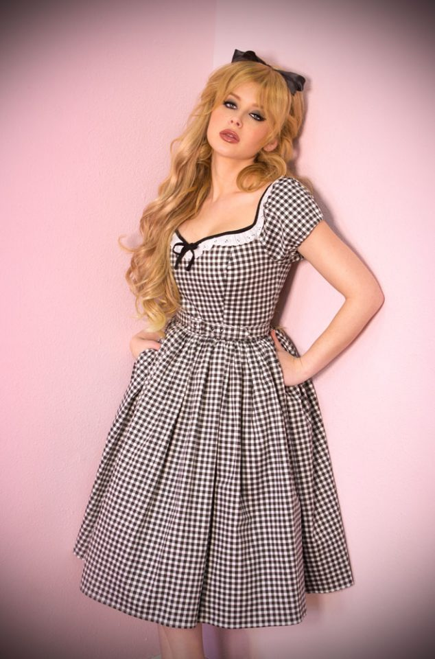 The Black Gingham Bardot Dress is the ultimate peasant dress! Inspired by the iconic style of Bardot. Deadly is the Female are official UK stockists of Vixen by Micheline Pitt. Good things for bad girls.