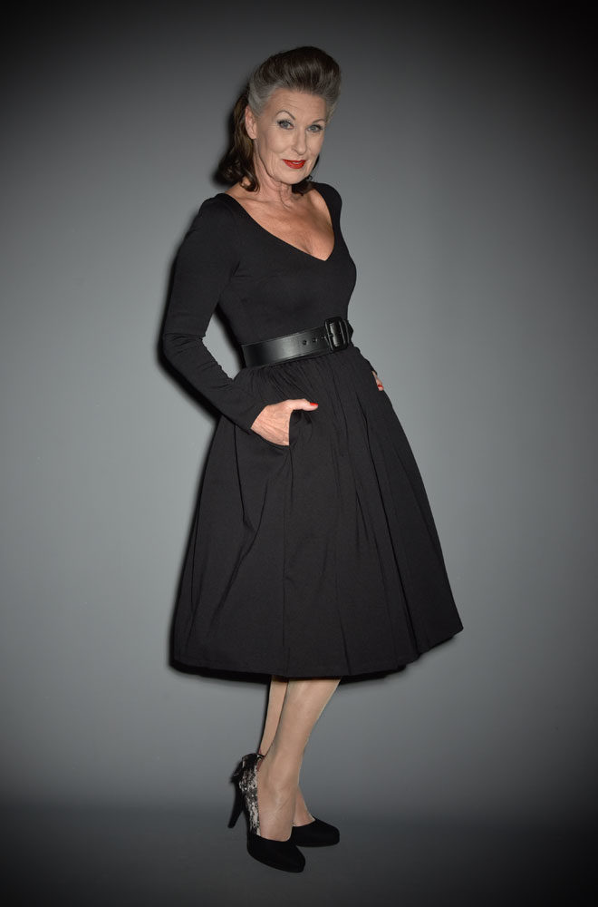 The Black Marilyn Swing Dress is a knockout dress from La Femme En Noir. Deadly is the Female are official UK & European stockists of La Femme En Noir. Specialising in dark & elegant designs for the glamorously gothic. With a cult following & new collections each season, you'll soon see what all the fuss is about!