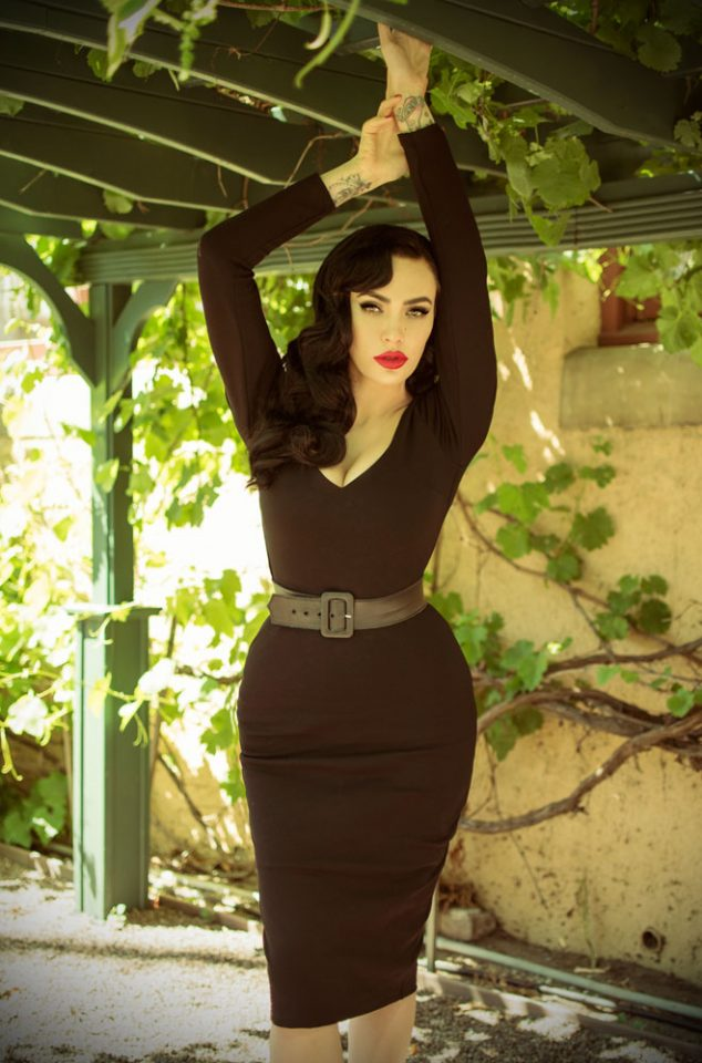 The Black Marilyn Wiggle Dress is a knockout dress from La Femme En Noir.Deadly is the Female are official UK & European stockists of La Femme En Noir. Specialising in dark & elegant designs for the glamorously gothic. With a cult following & new collections each season, you'll soon see what all the fuss is about!
