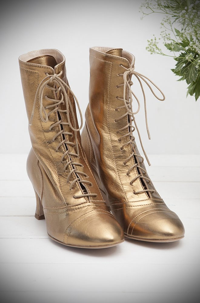 The Miss L Fire Bronze Frida Boots are beautiful vintage inspired heeled boots. Beautiful vintage inspired lace up ankle boots. Made in stunningly soft leather these fantastic vintage inspired boots have a charming, ladylike feel. They feature laces up the front, stitched detailing and leather lining.