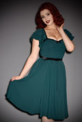 The Limited Edition Carmelita Dress is a chic hunter green swing dress designed by Micheline Pitt for Unique Vintage. Deadly is the Female are official stockists of this highly sought after collaboration.