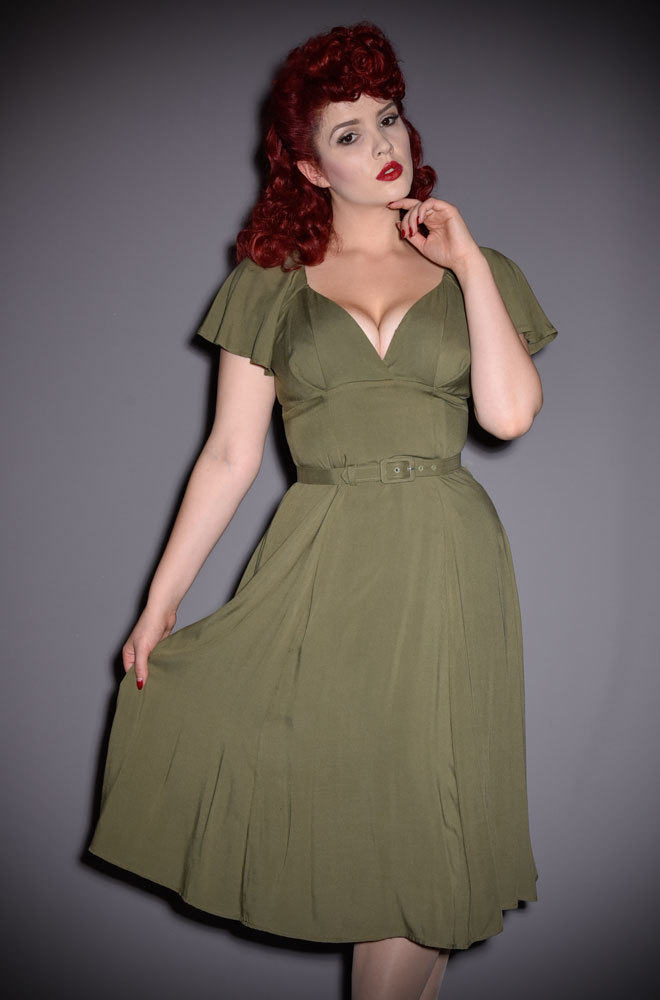 The Olive Babydoll Dress has arrived at Deadly is the Female. This dress is both sexy and chic. This striking dress is inspired by flowing 1940's silhouettes and is designed to be cool even in hot climates. DeadlyistheFemale.com are official UK stockists of Vixen by Micheline Pitt. Good things for bad girls.