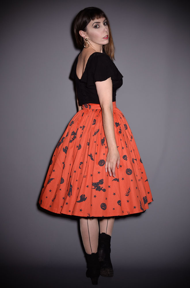 Ben Cooper Vintage Halloween Vixen Swing Skirt has arrived at Deadly is the Female, official UK stockists of Vixen by Micheline Pitt. Featuring original novelty print by artist Micheline Pitt, inspired by vintage 1930's Halloween costumes and Ben Cooper box art. Limited Edition!