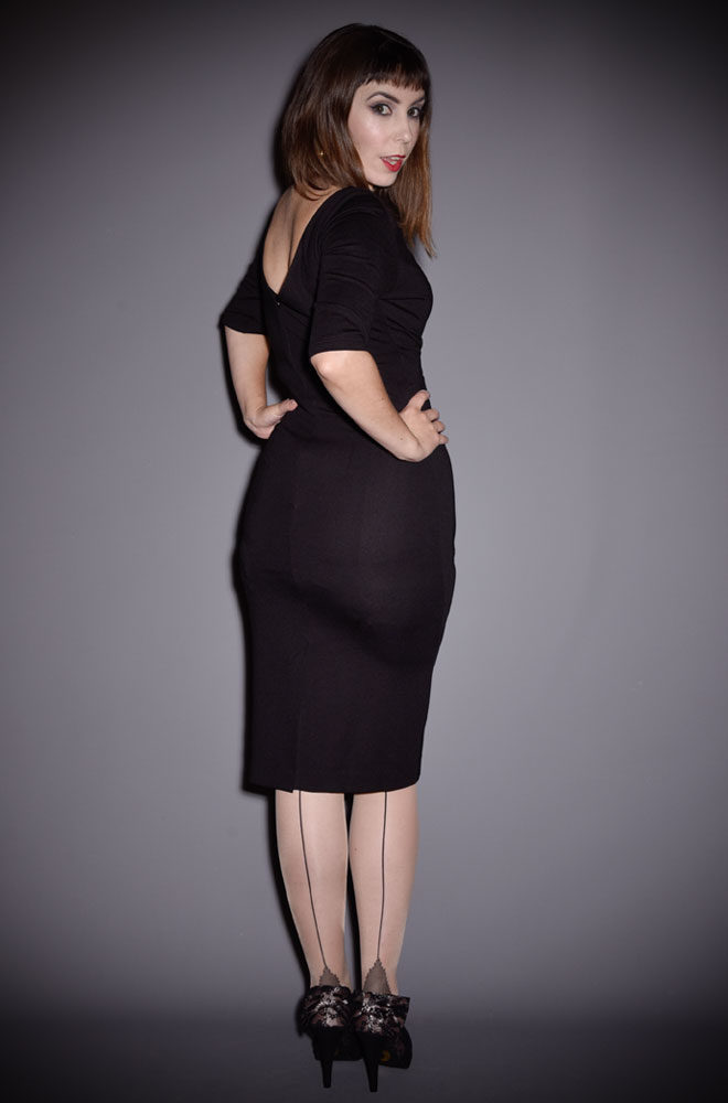 The Black Mansfield Dress is a timeless wiggle dress, inspired by the starlet fashions of the late 1950s/early 60s. Perfect for pinups day or night.