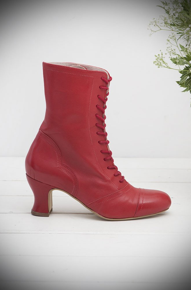 The Miss L Fire Red Leather Frida Boots are beautiful vintage inspired lace up ankle boots. Available now at Deadly is the Female. Limited Edition.
