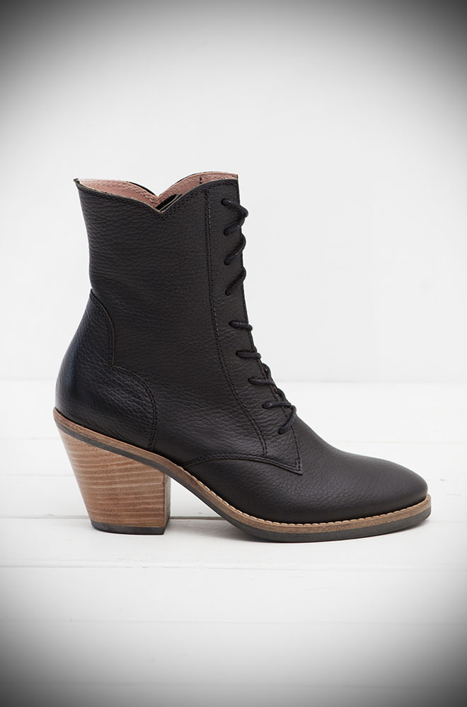 The Miss L Fire Black Leather Kate Boots are beautiful vintage inspired lace up ankle boots. Available now at Deadly is the Female. Limited Edition.