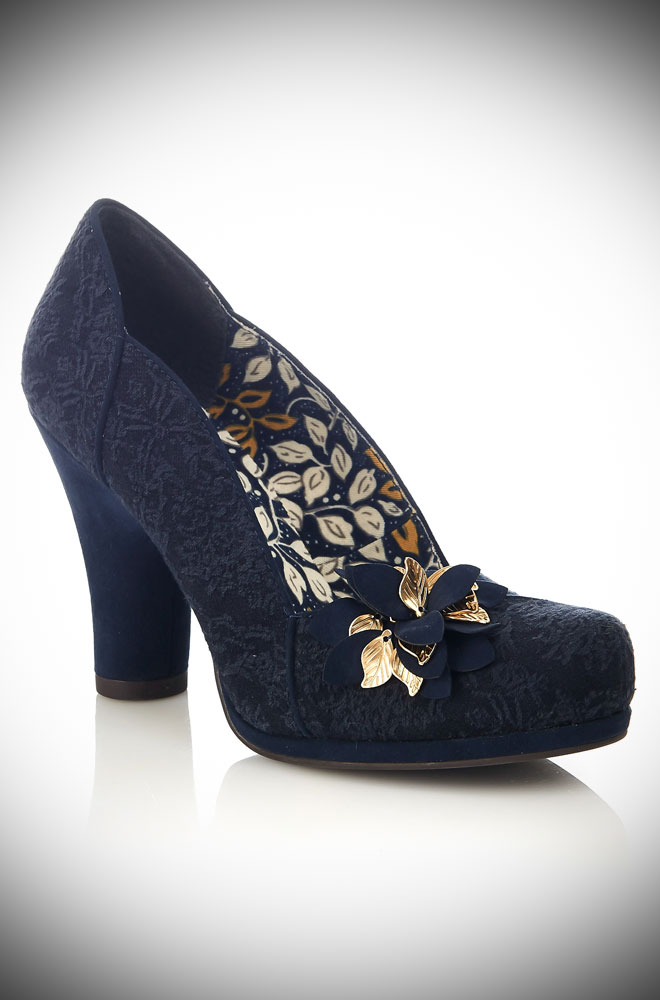 New for this season! The Ruby Shoo tone-on-tone navy brocade Navy Charlie Shoes are trimmed with golden autumn leaves in a sweet corsage.