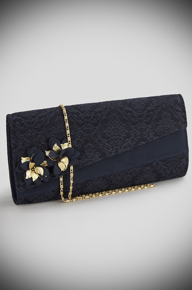 Introducing the Navy Hanoi Bag. A tone on tone brocade bag with golden leaf courage trim & bags of vintage style charm by Ruby Shoo at Deadly is the Female.