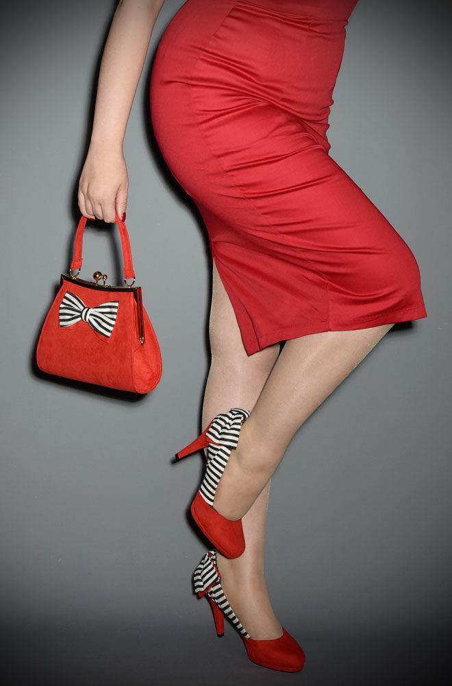 New for this season! Introducing the fabulously flirty red, black and white striped Katie Shoes by Ruby Shoo, available now at dealyisthefemale.com