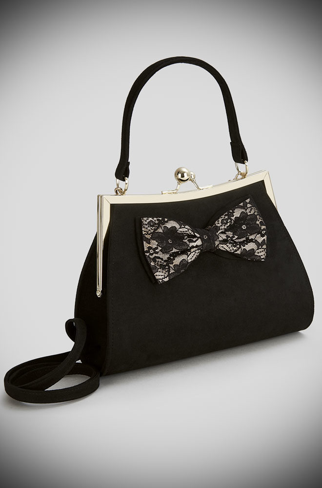 Introducing the Lace Logan bag. A black faux suede kiss lock bag with lace bow trim by Ruby Shoo at Deadly is the Female. Matching Shoes available.