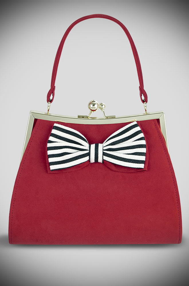 Introducing the Red Logan bag. A red kiss lock bag with monochrome striped bow trim by Ruby Shoo at Deadly is the Female. Matching Shoes available.