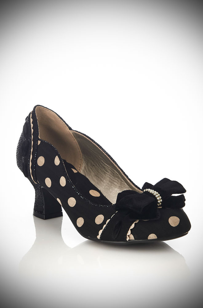 New for this season! The Black Spotty Rhea Shoes are vintage inspired low heel shoe perfection! By Ruby Shoo available now at Deadly is the Female.