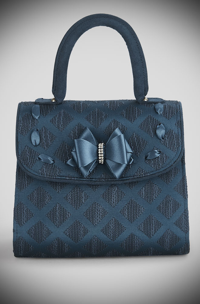 Introducing the Teal Santiago bag. A rich satin jacquard bag with ribbon trim and bags of vintage style charm by Ruby Shoo at Deadly is the Female.